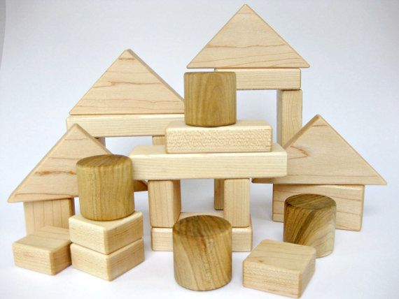 Natural Wooden Building Blocks Set of 26 Jojoba by GreenBeanToys, $29.00