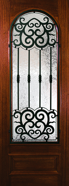 Barcelona wrought iron grille design on premium mahogany wood