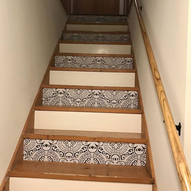 Naples Tile Wall Stair Floor Self Adhesive Vinyl Etsy In 2020 Flooring For Stairs Stair Riser Vinyl Wall Tiles