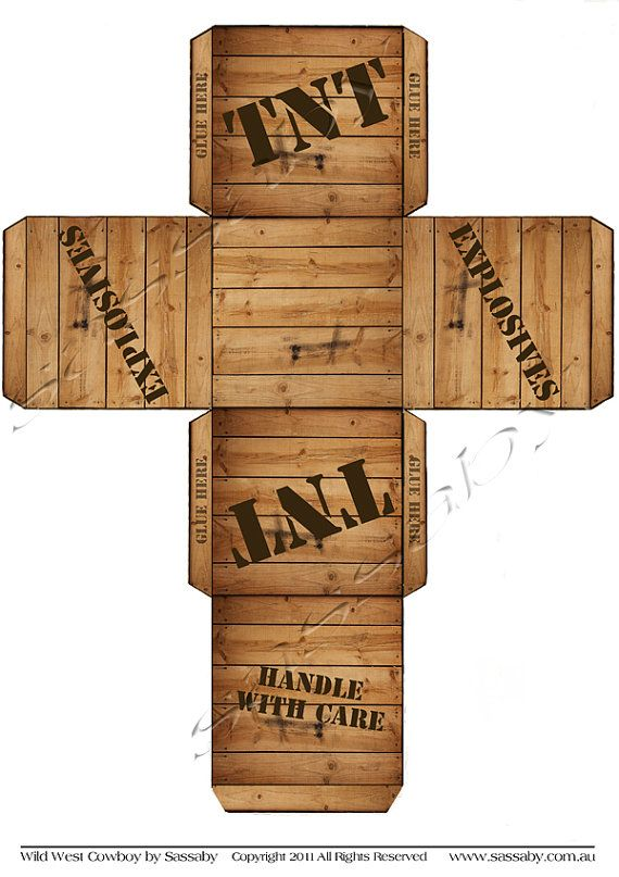 TNT Gift Box Wild West Cowboy INSTANT DOWNLOAD от SassabyParties