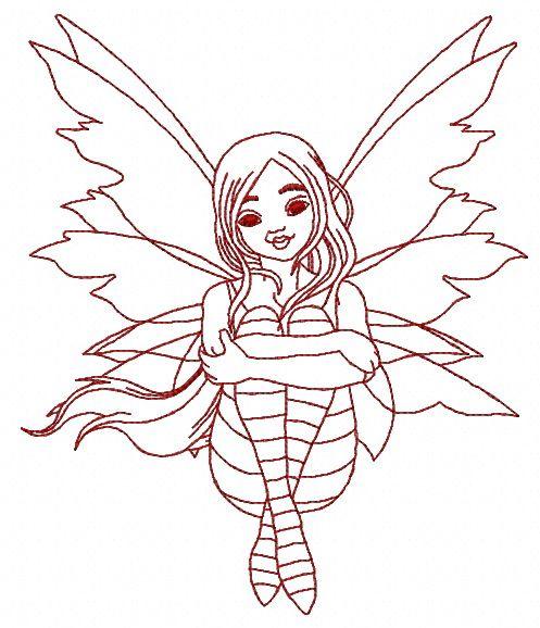 Sad fairy 4 machine embroidery design. Machine embroidery design. www.embroideres.com