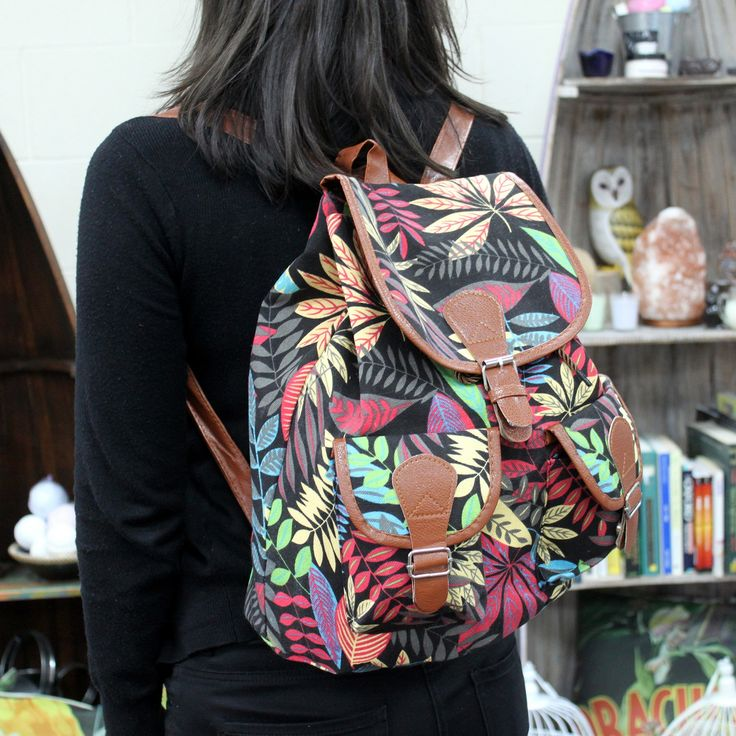 Beautiful Jungle Backpack with two external pockets for those small items and two internal pockets where one comes with a zipper. This backpack is very comfy and its good enough to carry all the school supplies.  #Scarves_wholesale #Bags_wholesale #Jungle_bags #Flowersbags #Backpackwholesale #Big_backpack