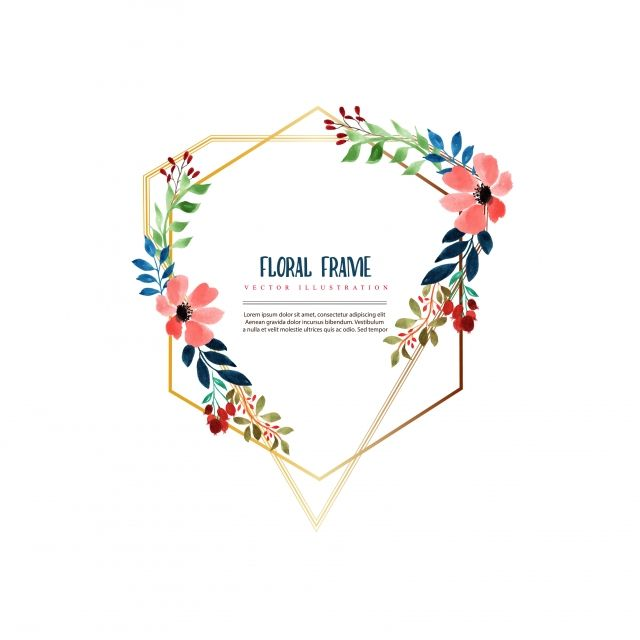 Hand Painted Floral Frame Flowers Plant Watercolor Png And