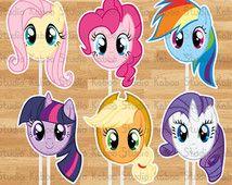 Fotografia digitale 6 centrotavola grande My Little Pony digitale, toppers torta, arredamento partito, forniture, maschere, cliparts, borse decorazioni, immagini, oggetti di scena