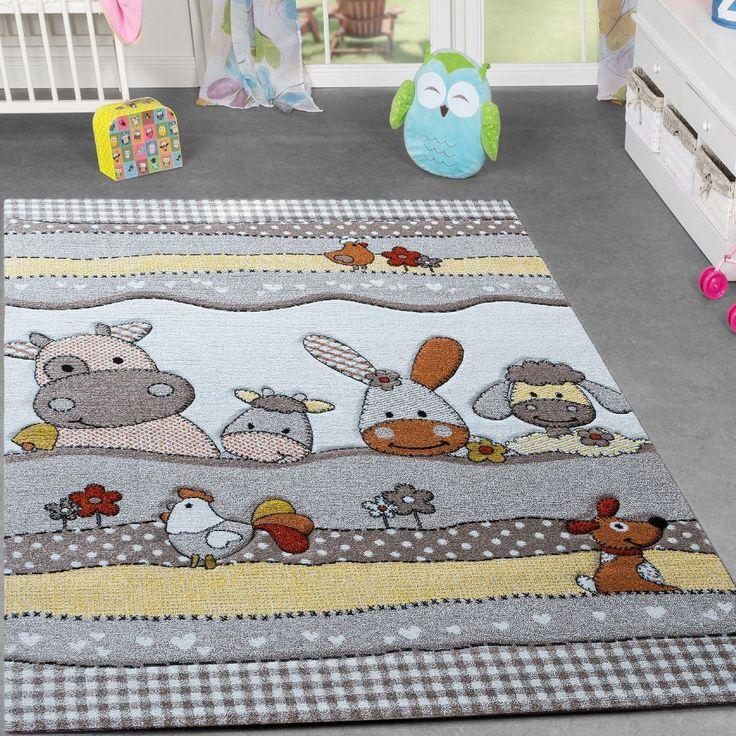 Kinder Teppich Bauernhof Design Lustige Tiere Kinderzimmer