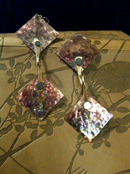 Hand-forged hammered copper & sterling earrings fiished with a rainbow patina