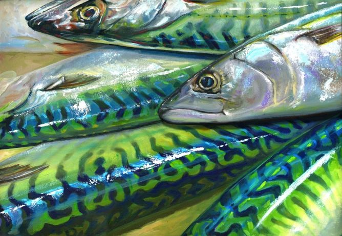 Mackerel 53x45cm oil painting By Paul Martin