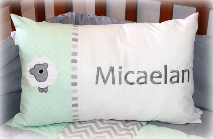 """Personalized Cushion with Name Micaelan in grey & mint. """"Sweet Sheep"""" linen range, designed by Tula-tu Baby Linen (South Africa). Size 35cm x 55cm"""