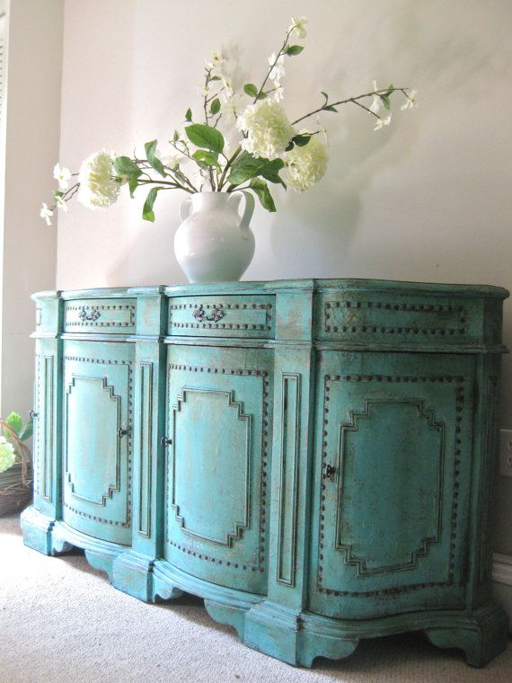 SOLD Hand Painted French Country Cottage Chic Shabby Distressed Aqua /  Turquoise Teal Blue Buffet Credenza Blue Painted Furniture,Furniture Paint  With a ...
