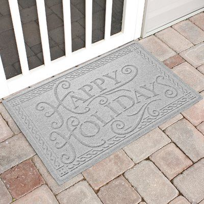 The Holiday Aisle Happy Holidays Outdoor Doormat Color: White