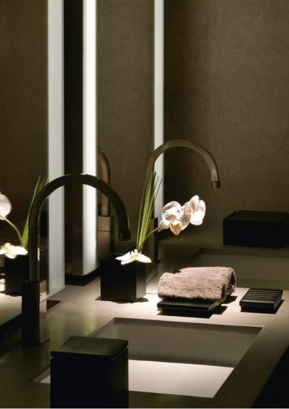 Armani Hotel Dubai - great sinks and spa-like feel