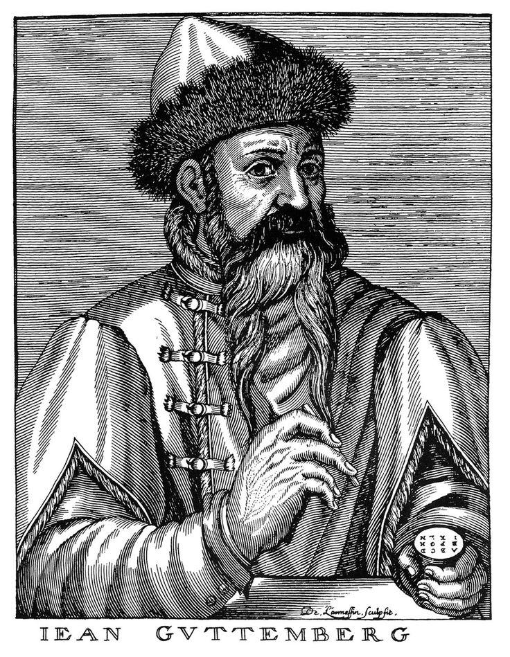 Johannes Gutenberg.  (c. 1398 – 3 de febrero de 1468) fue un orfebre alemán, inventor de la imprenta de tipos móviles moderna (hacia 1450). Su mejor trabajo fue la Biblia de 42 líneas.