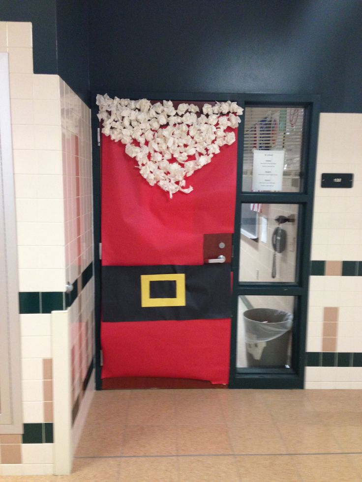 Cute Christmas door/ locker idea! Used crinkled up paper balls for the ...
