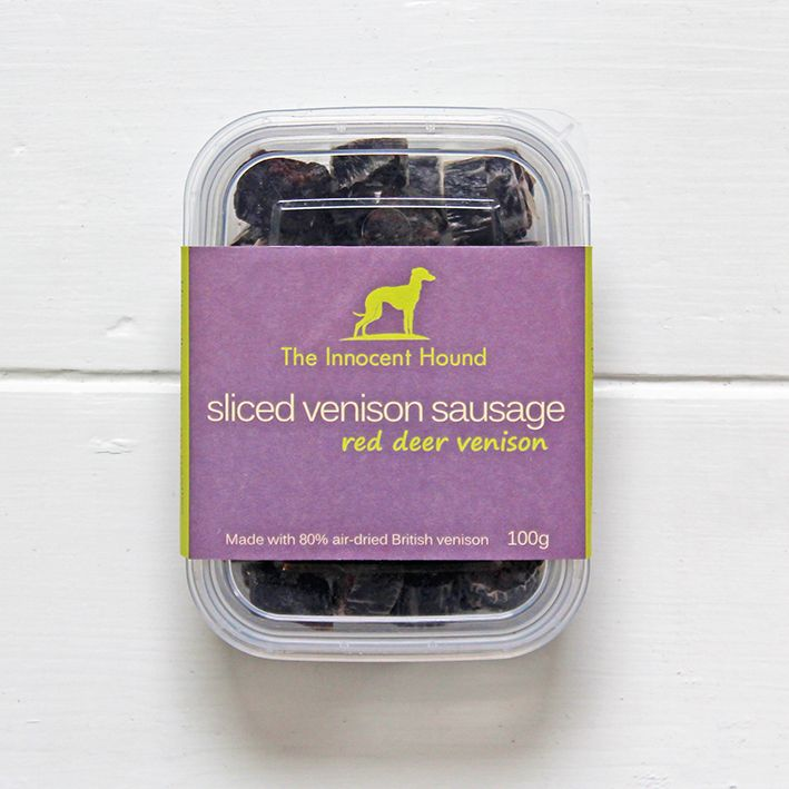 The Innocent Hound grain-free venison dog treats. Hypoallergenic – no wheat, gluten, soya or dairy. Made in the UK.