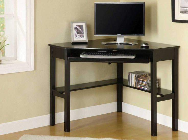 Corner Computer Desks For Your Home Office Furniture : Attractive Black Corner Computer Desk with Wooden Floor and Beige Carpet also Beige Wall Painting for Fabulous Home Office Design