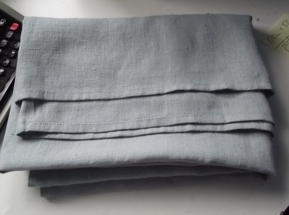 Medium grey linen bed cover/coverlet. Heavy weight summer