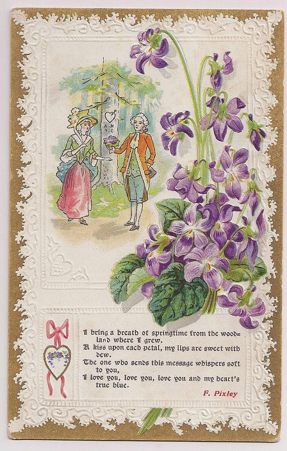 Antique Postcard Springtime Bouquet In Violet With Love To