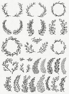 Wunderliche Lorbeeren & Kränze ClipArt / / Photoshop Pinsel PNG-Dateien / / handgezeichnete Vektor Blumen Blüten Laub Beeren / / kommerzielle Nutzung