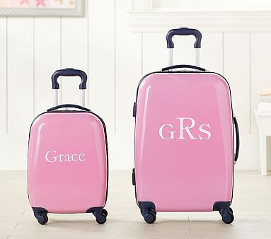 Fairfax Solid Pink/Navy Trim Hard Sided Luggage Collection
