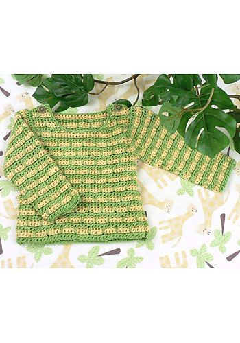 Devon Striped Baby Sweater #freecrochetpattern CrochetKim.com