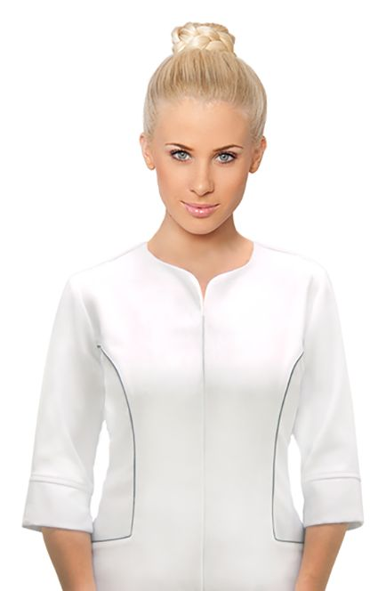 SPA 39 tunic  - White.  3/4 sleeve with zip front and two pockets. Long enough to cover your bottom, action back in the shoulder blades for extra movement. Chic elegant and practical. White with Contrast piping in grey. Generous cut, available in size 6-24, please view our sizing chart to determine the right size for you.