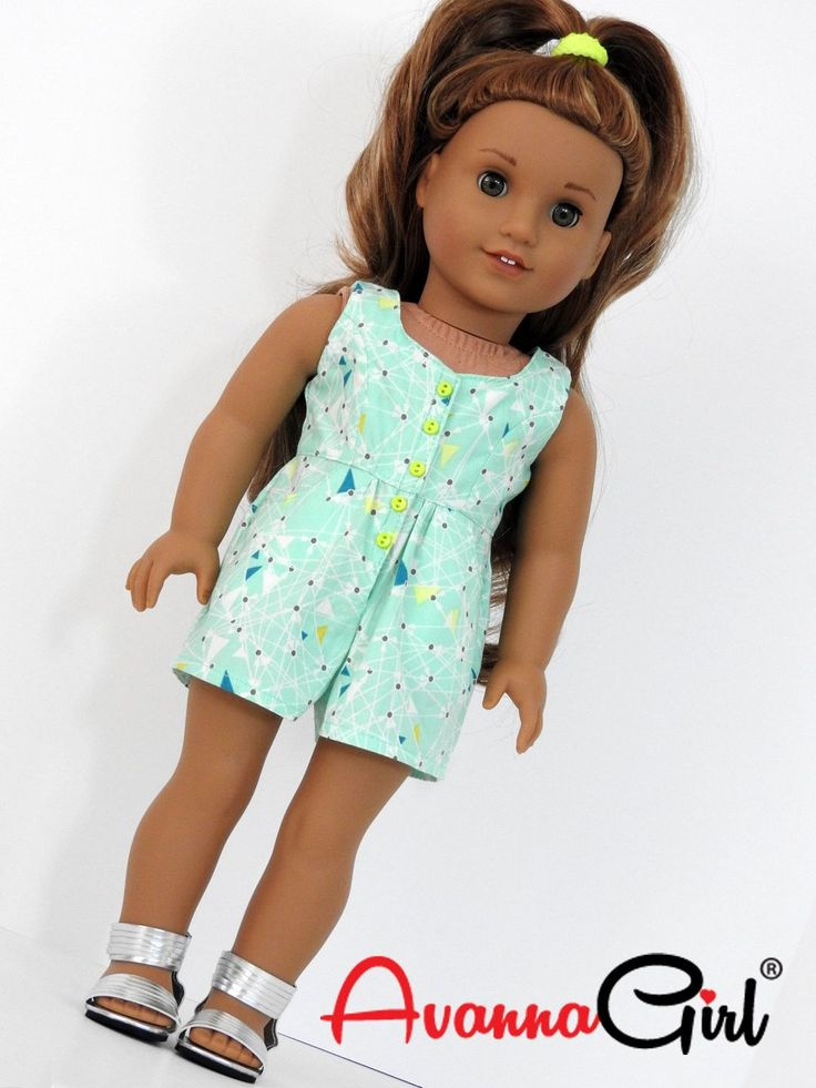 Surfrider Romper for American Girl Doll, 18 Inch Doll This trendy little romper is perfect for summer weather. Featuring, front pockets and faux button front closure with tiny snaps underneath it is s