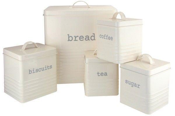 New Modern 5 Piece Cream Kitchen Storage Set Tea Coffee Sugar Biscuits Bread Bin in Home, Furniture & DIY, Cookware, Dining & Bar, Food & Kitchen Storage | eBay!