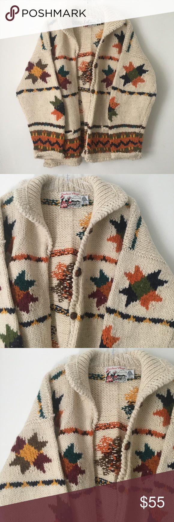 """HEAVY CHUNKY KNIT FALL SWEATER CARDIGAN COAT TOP!! AMAZING Stunning Gorgeous Halloween Thick Chunky Heavy Soft Cozy Warm Cable Knit High Foldover Mock Neck Turtleneck Button Up Down Sweater Cardigan Coat Top Stretch Boho Hippie Gypsy Festival Leaves Leaf Geometric Shape Design Pattern Print Fall Winter    100% wool. Handmade in Ecuador.    Brand new    Never used    NO flaws    One Size Fits Most. Could work for XS, Small, Medium, Large or XL depending on desired fit.    Chest - 23.5"""" across…"""