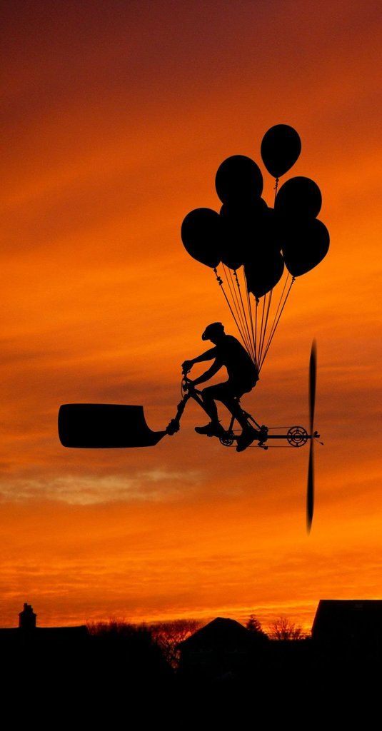 ...Flying Machine: Bici Globo, Bicycles Flying, Dreams, All Black, Photography Silhouette, Art, Graphics Design, Flying Machine, Balloon Photography