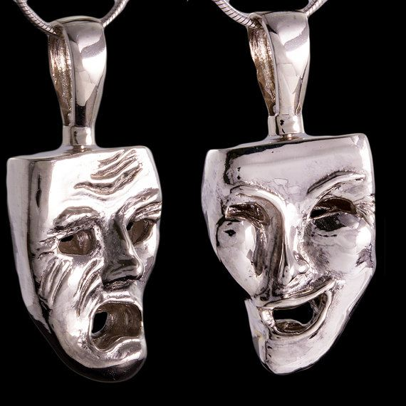 Pendant Double Sided Drama Masks Solid Sterling Silver Quality Handmade by Mdelaluzjewelry #Solid#Sterling#Silver#Mask#Quality#Jewelry#Necklaces#Silver#Pendant#Unique#mens#Chrismas#Gift#Present#Accesories#