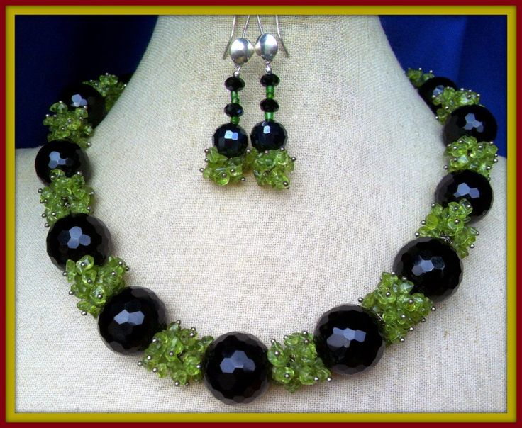 Onyx Necklace, Peridot Necklace, Sterling Silver Onyx Peridot Gemstone Necklace, Semi Precious Black Onyx Gems, Onyx Earrings Made in Italy by BellaEmyJewels on Etsy https://www.etsy.com/listing/164272983/onyx-necklace-peridot-necklace-sterling