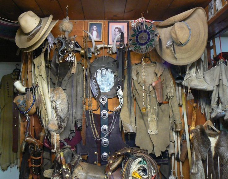 Indian mountain man fringed leather clothing, jewelry, cowboy hats, belts and turquoise made by Mountain Mike of Idyllwild.