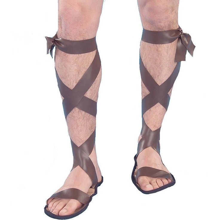 Adult Roman Gladiator Costume Sandals, Men's, Brown