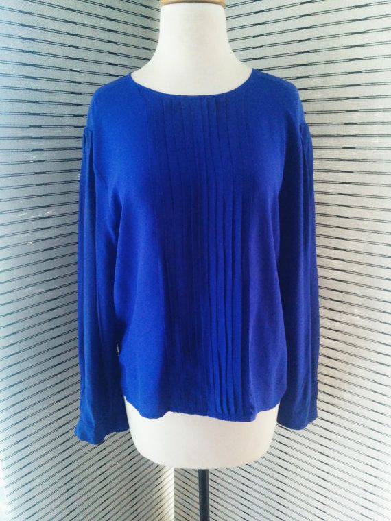Vintage 1980s 100 Silk Blouse in Electric Blue by CristalsAttic, $16.00