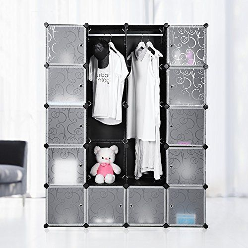 trendy songmics armoire penderie cubestagre de rangement modulables plastiques imprim cadre en. Black Bedroom Furniture Sets. Home Design Ideas