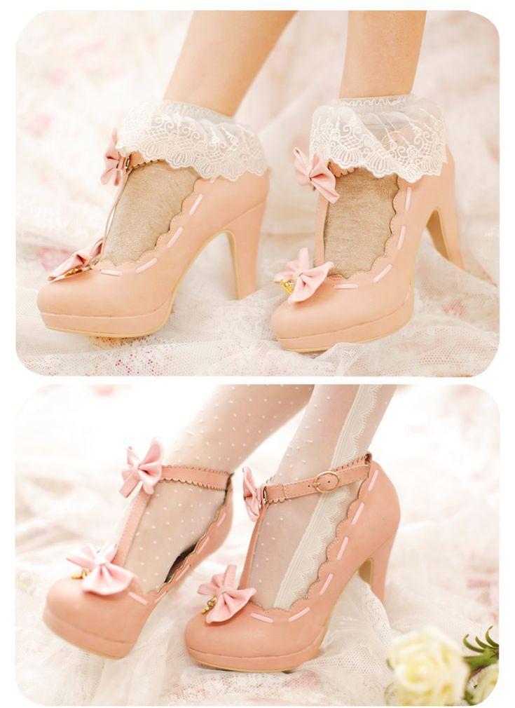Japanese fashion pink heels  SEOULRHYTHM
