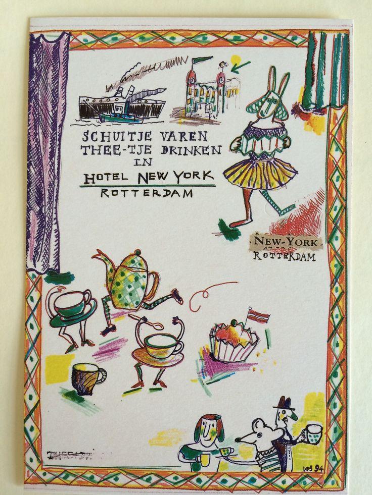 Ansichtkaart Hotel New York met illustraties van Dorine de Vos