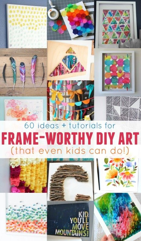Short on ideas and tutorials for DIY art? Repin this list of 60 frame-worthy DIY art projects shared by Remodelaholic and be inspired to craft wonderful wall art.