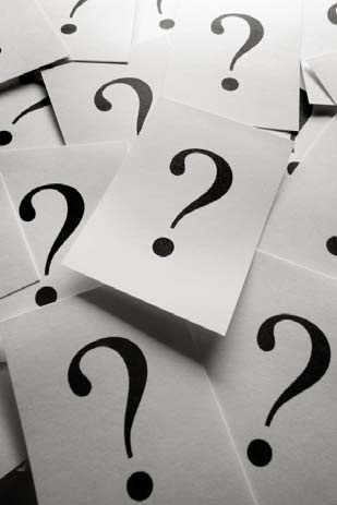 Question marks representing Marcus' confusion on who to trust and what to believe along with many of his questions unanswered
