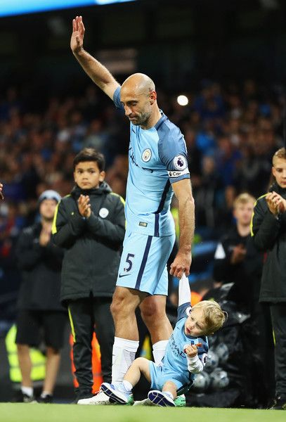 Pablo Zabaleta Photos Photos - Pablo Zabaleta of Manchester City celebrates on the pitch with his son Asier Zabaleta during the Premier League match between Manchester City and West Bromwich Albion at Etihad Stadium on May 16, 2017 in Manchester, England. - Manchester City v West Bromwich Albion - Premier League