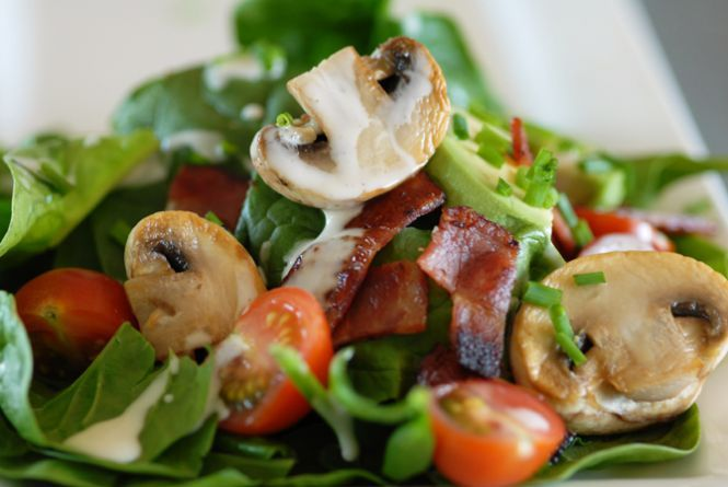 spinach salad recipes bacon salad white button mushrooms mushroom ...