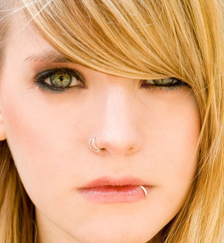 Double Nose Piercing and Lip Piercing