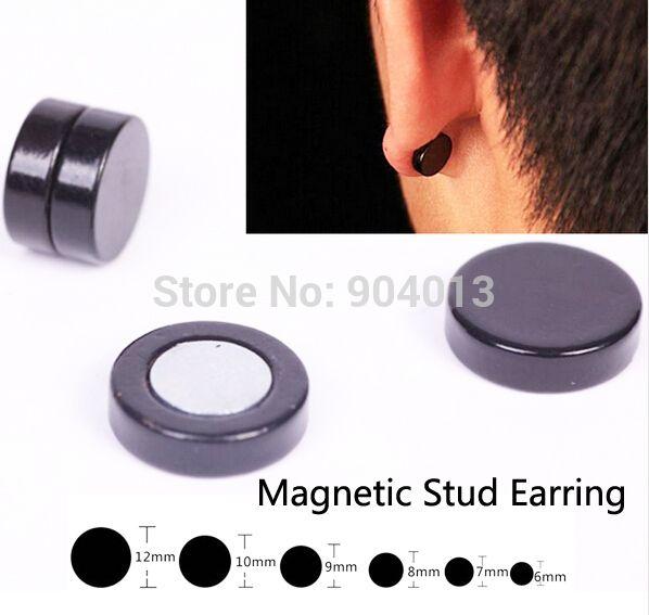 2016 schwarz edelstahl titan stahl runden magnetischen clip auf schwarzem gefälschte ohrstecker magnetischen ohrring herren geschenk