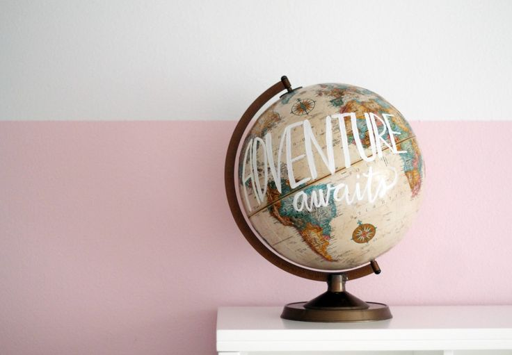 Cute idea for décor and a good way to repurpose an old outdated globe.  30 Minute Project: Paint on a Globe! | Chris Loves Julia
