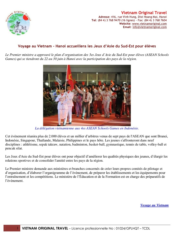 Voyage au vietnam   hanoi accueillera les jeux d'asie du sud-est pour élèv…