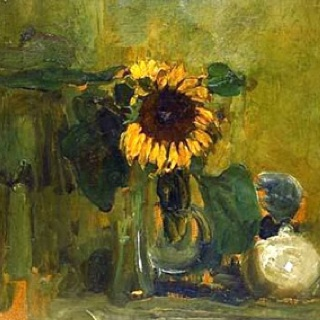 ❀ Blooming Brushwork ❀ - garden and still life flower paintings - Sunflowers by Piet Mondrian