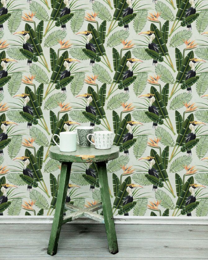 Birds of Paradise Wallpaper from Mauritius Collection.