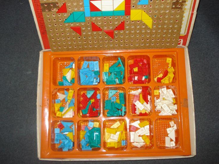 Детская мозаика (красная коробка, квадратный узор). Настольные игры СССР - http://samoe-vazhnoe.blogspot.ru/