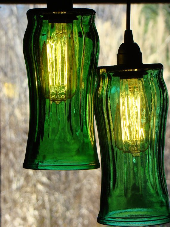 Recycled Swag Light from cheap green florist vases.. super cheap at thrift stores.