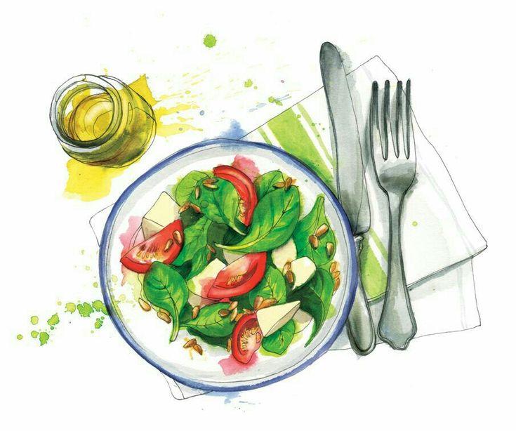 рисунок полезные продукты на ужин прямоугольные